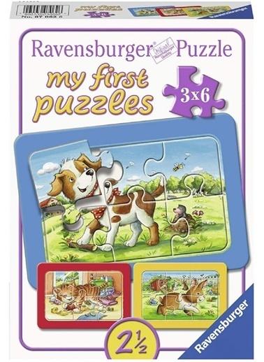 Ravensburger Ravensburger 3x6 Parçalı Çerçeveli Puzzle Animal Friends Pembe